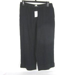 J Jill Love Linen Black Crop Pants Full Leg M NEW